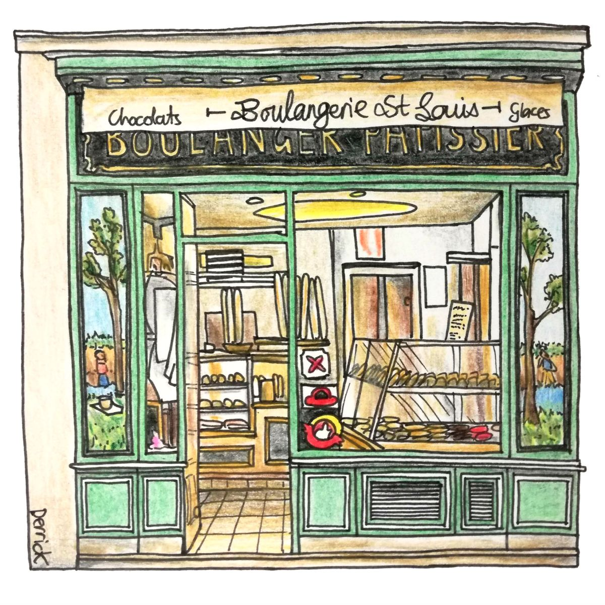 sketch of a french boulangerie french pastries and cakes