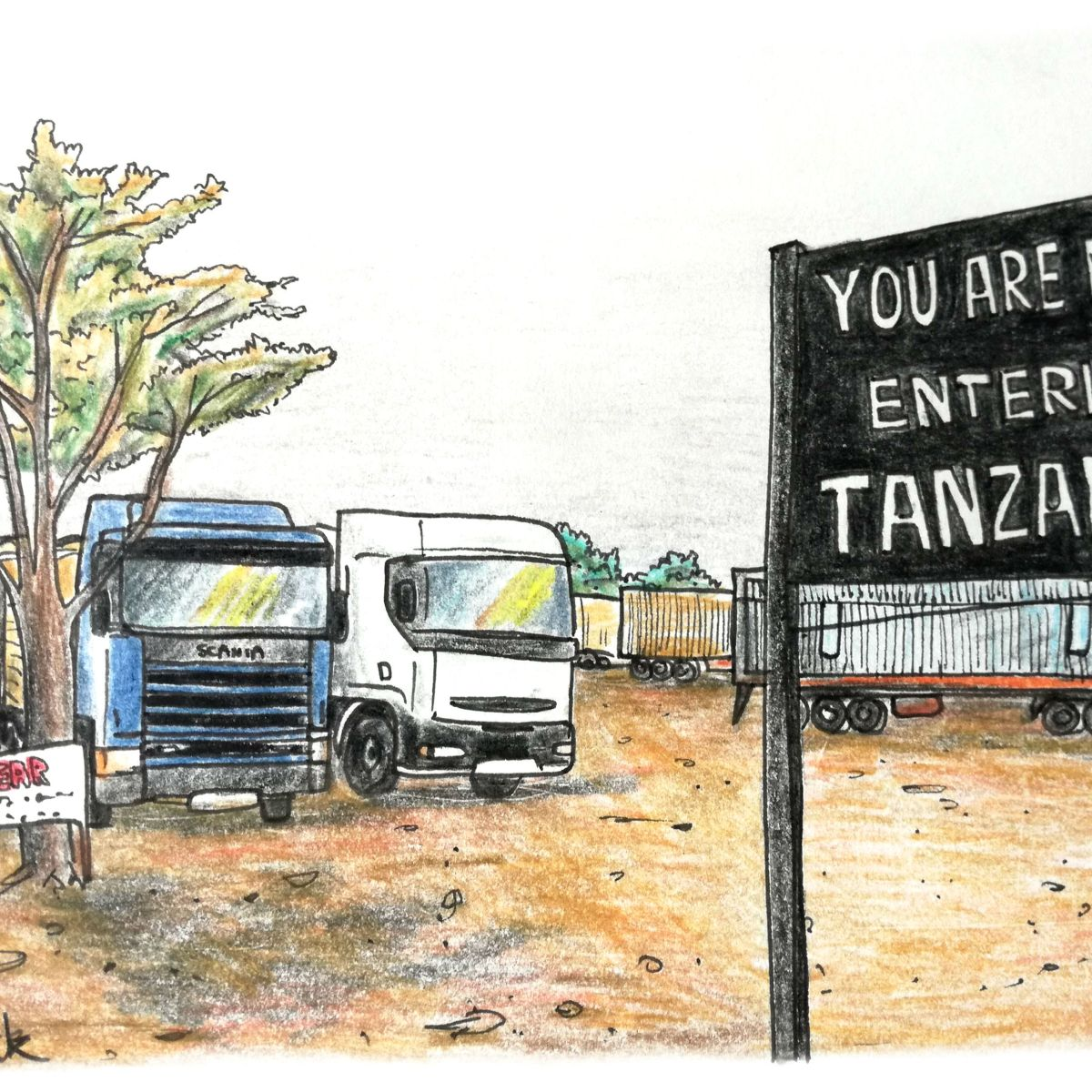 sketch of trucks parked at the zambia tanzania border crossing