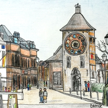 Urban sketching zimmer tower square in lier belgium