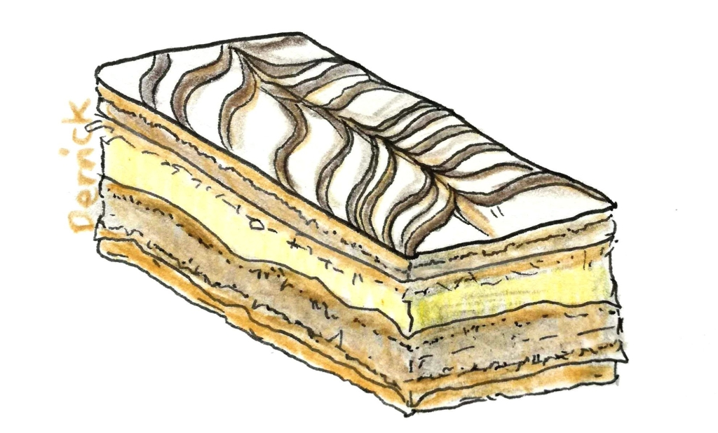 illustration of a millefeuille cake