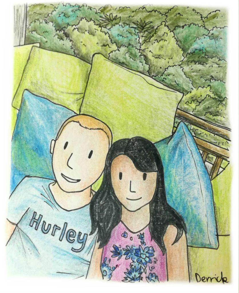Cartoon of a couple relaxing on a pile of cushions in Thailand