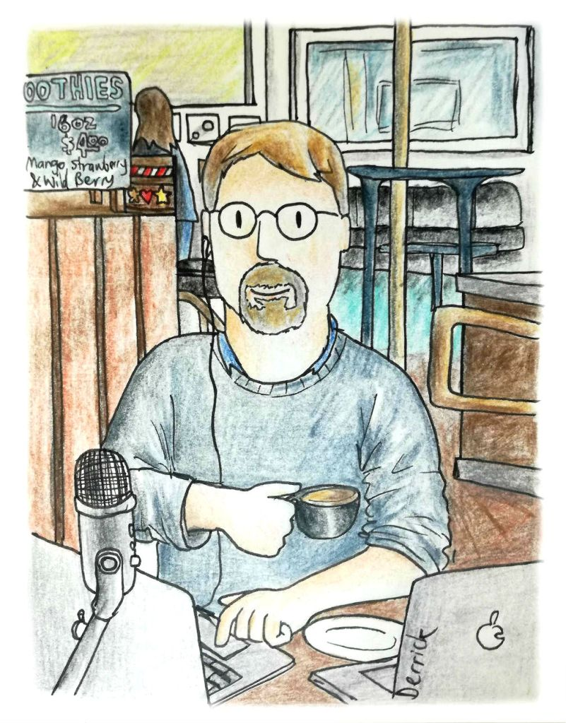 Cartoon of a man drinking coffee and recording a podcast