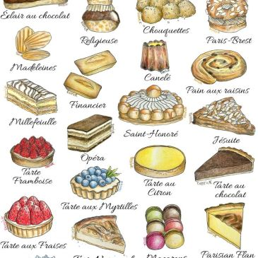 illustrations of lots of delicious french cakes and pastries