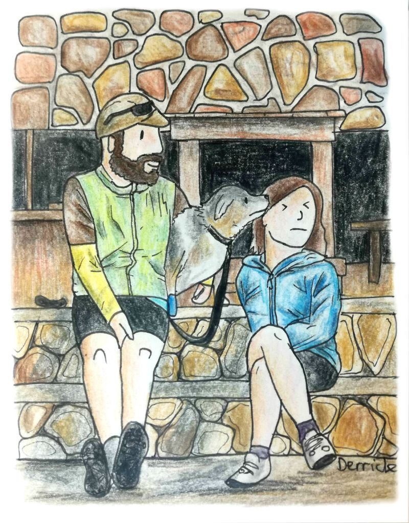 Cartoon of two adventure travelers and a dog