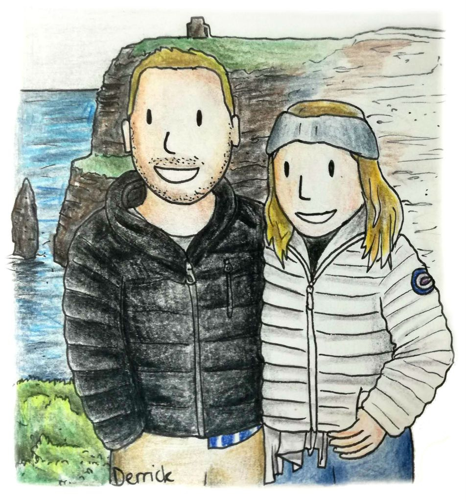 Sketch of two travel bloggers on a cliff in Ireland