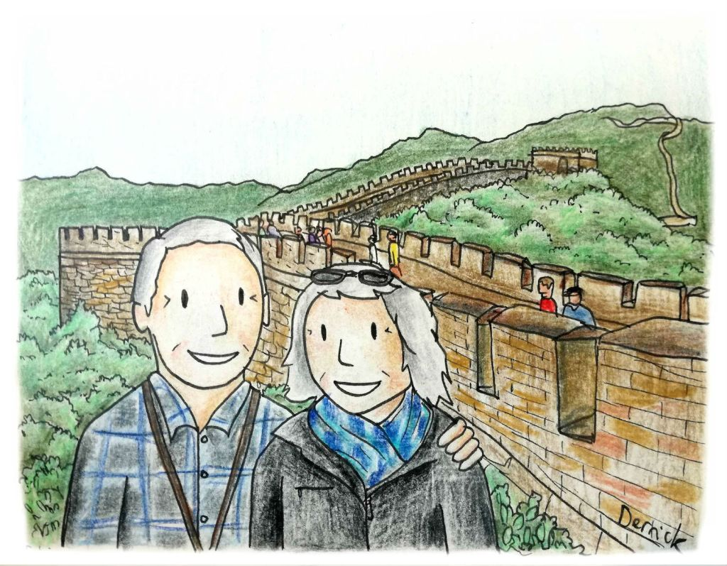 Cartoon of two tanned retirees with the great wall of china