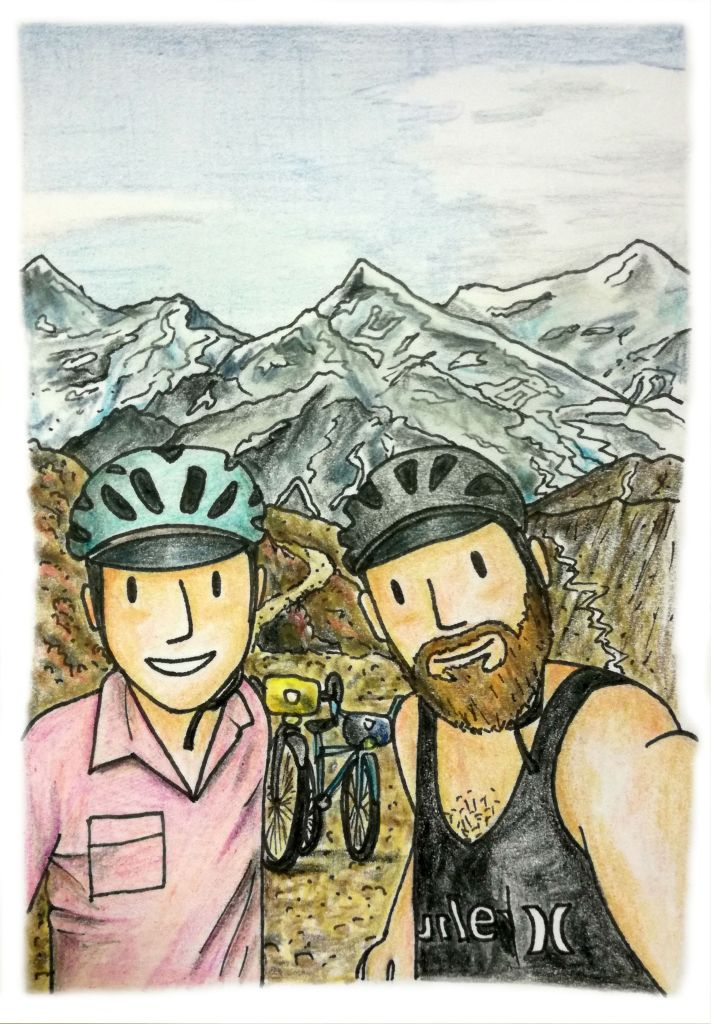 Cartoon of two travelers cycling over the himalayas