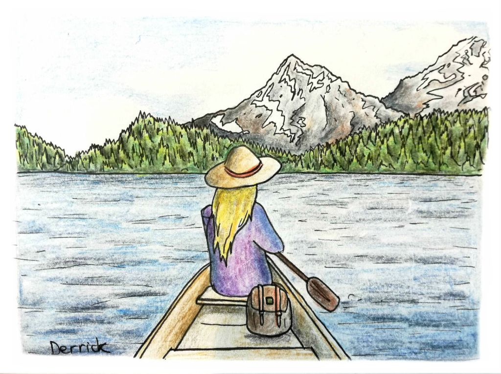 Drawing of a girl with a floppy hat paddling a canoe