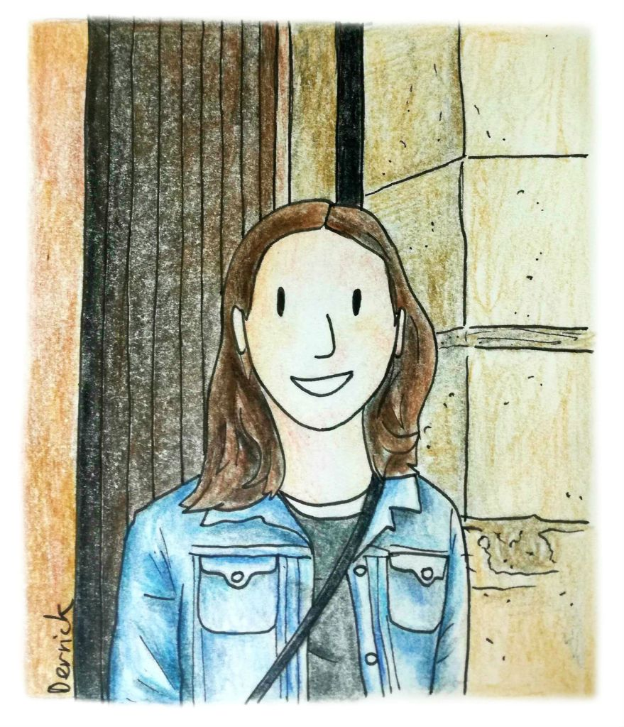 Cartoon of a brunette in front of a church door