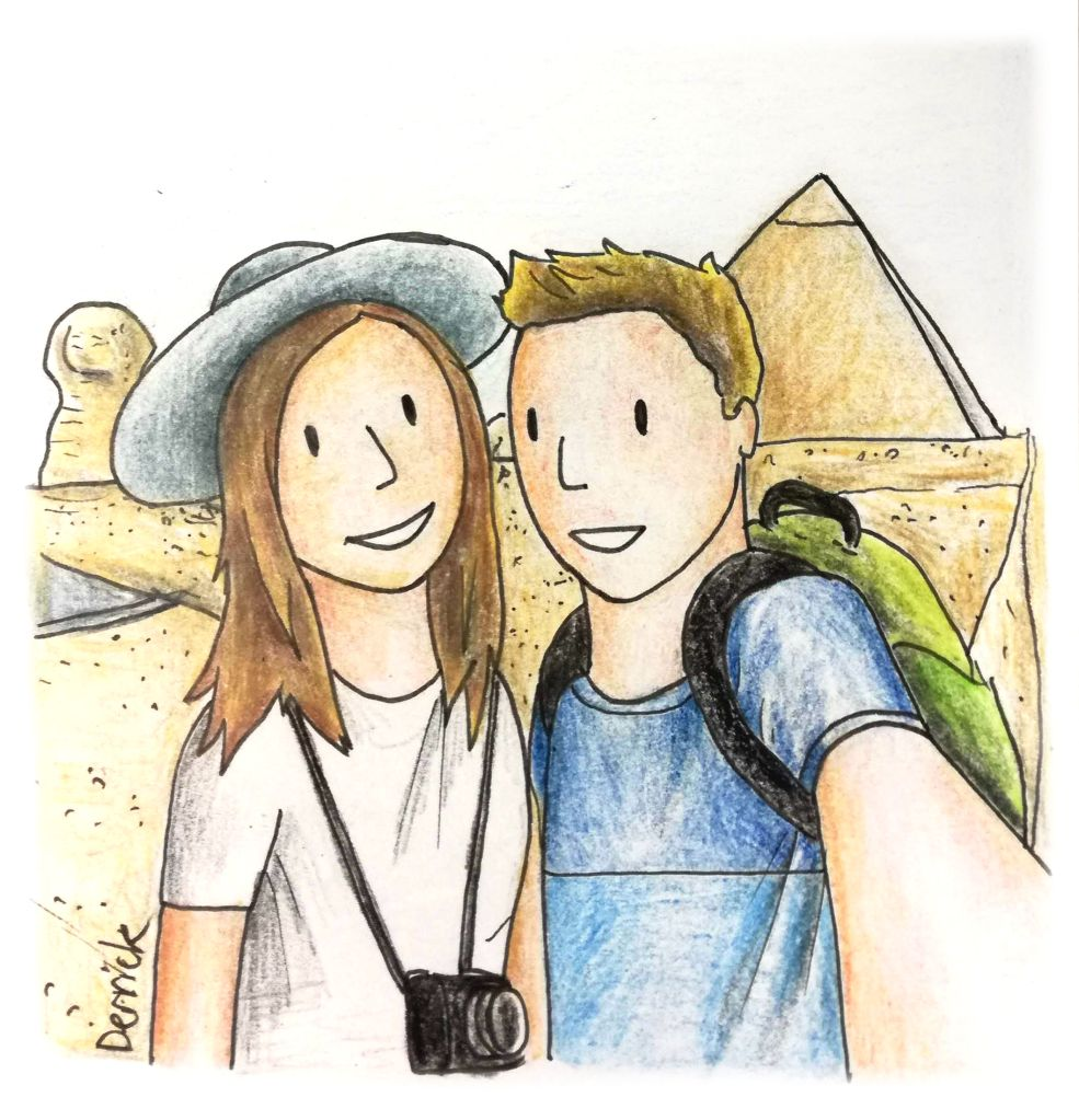 Cartoon of a couple taking a selfie in front of the pyramid of giza