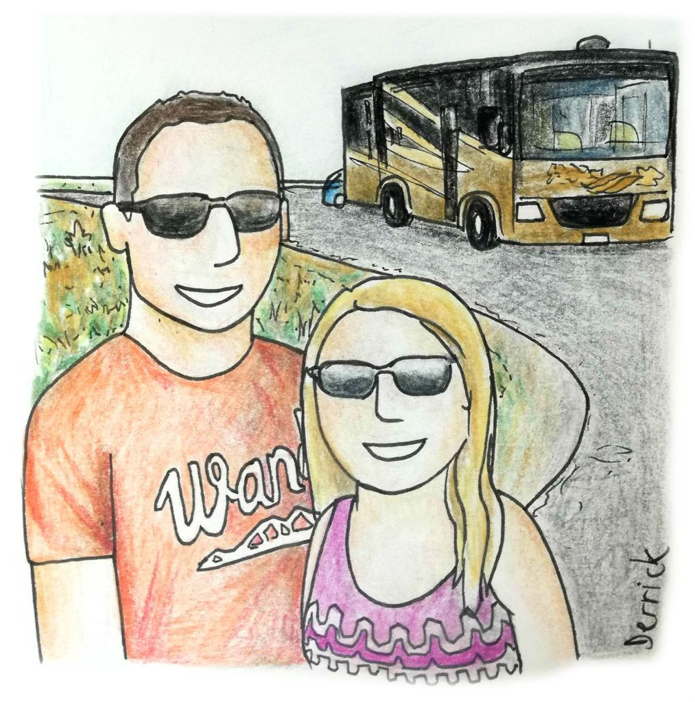 Cartoon of a couple and their RV