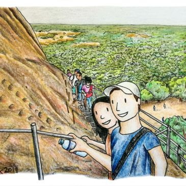 drawing of two people climbing sigirya rock