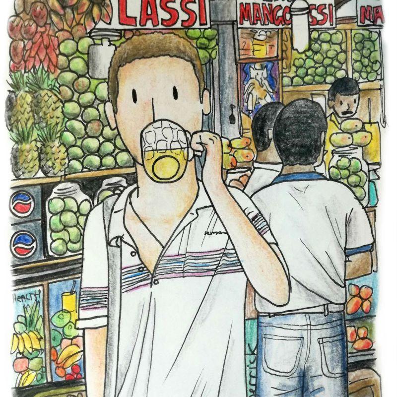 Drawing of a cartoon man drinking a mango lassi