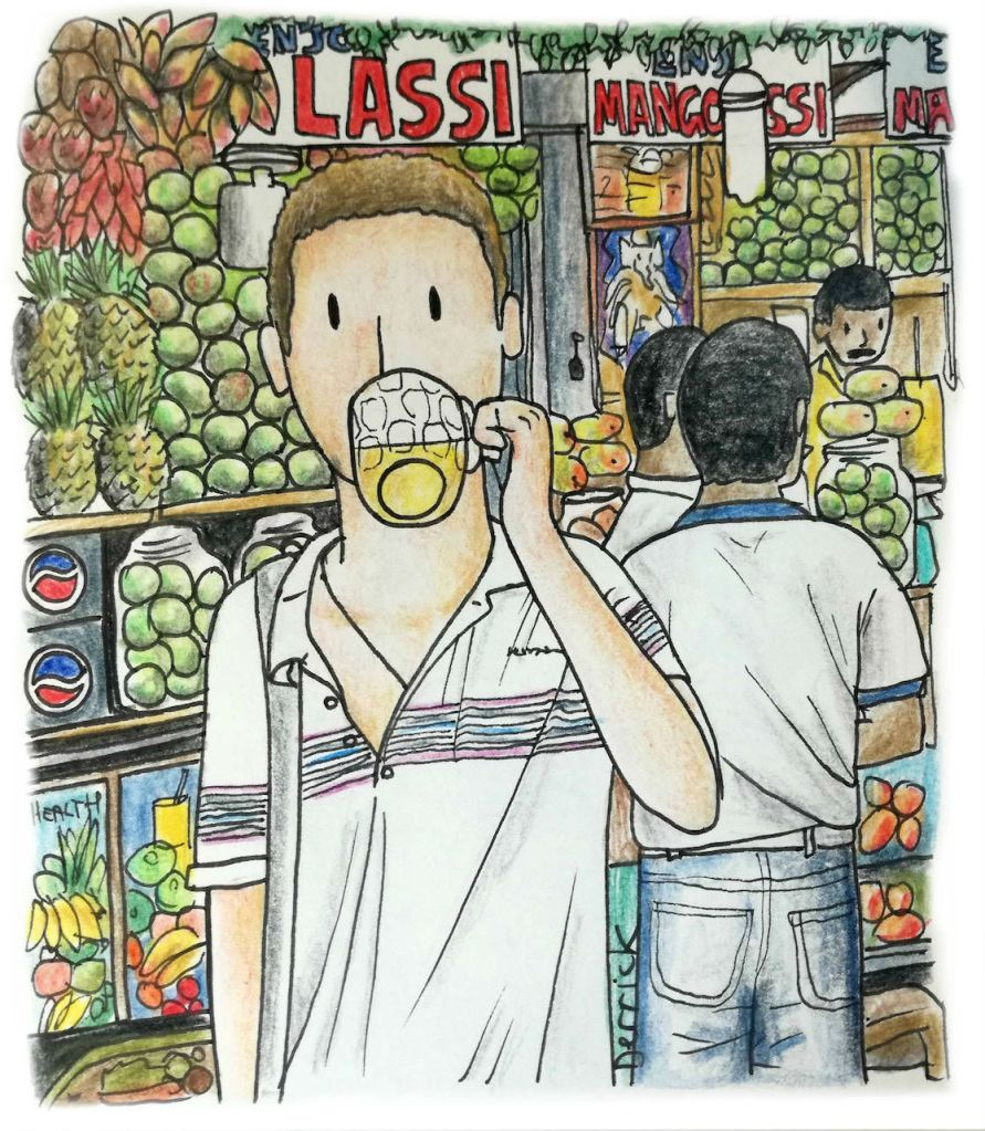 Drawing of a cartoon man drinking a mango lassi