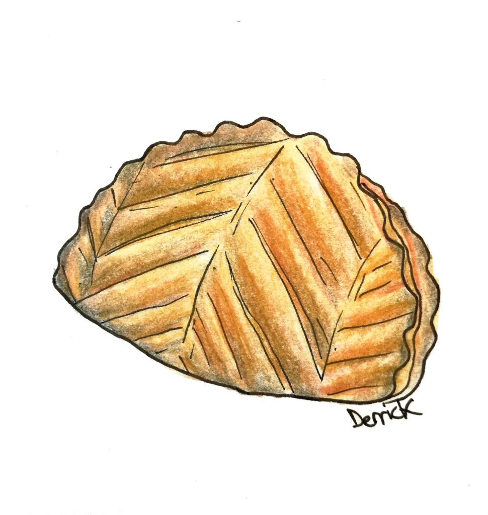 Sketch of a chausson aux pommes pastry