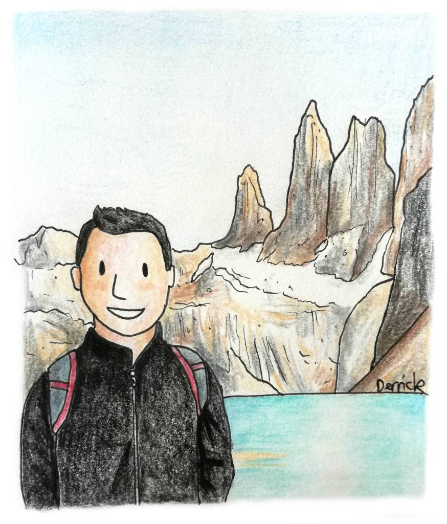 drawing of nomadicmatt in patagonia