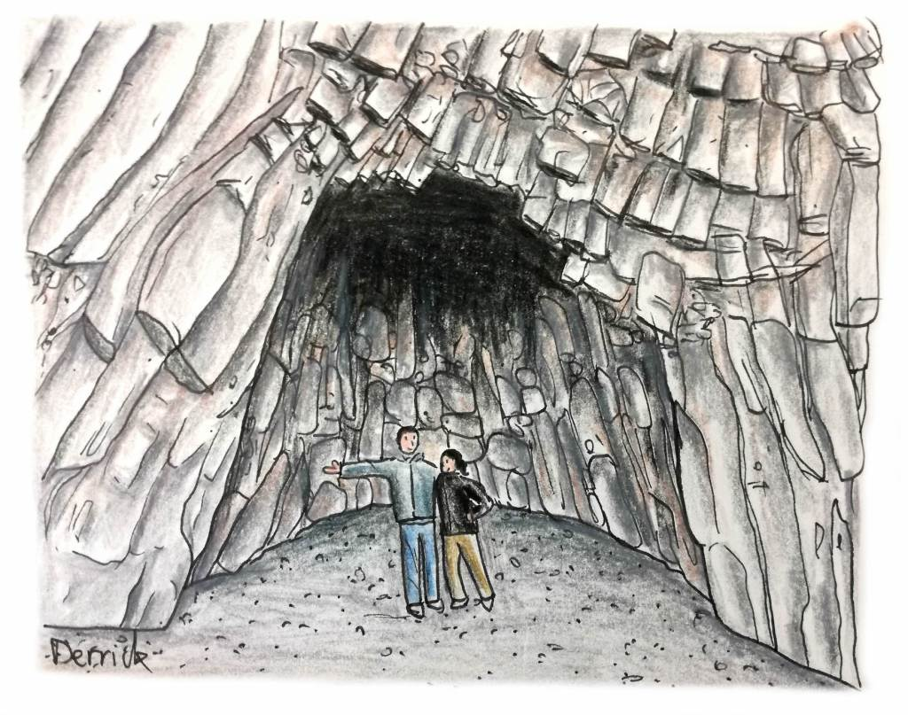 Sketch of basalt column cave on Reynisfjara beach