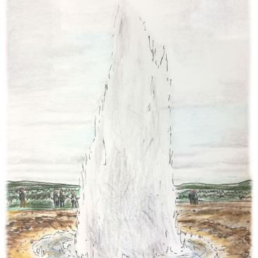 Sketch of Geysir on Iceland's golden circle