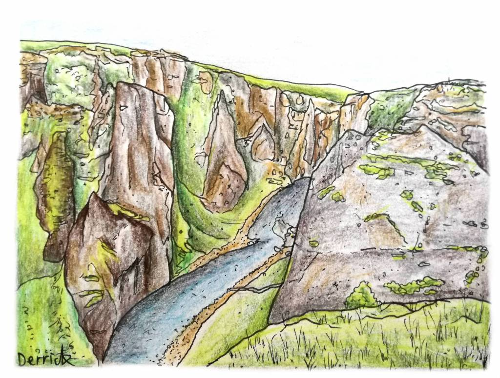Sketch of Fjaðrárgljúfur gorge in Iceland