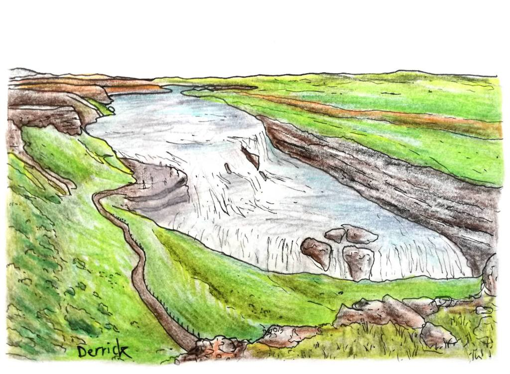 Sketch of the gullfoss waterfall on the golden circle