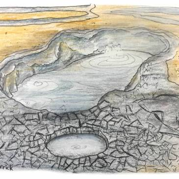 Sketch of a boiling mud pool in Hverir Iceland