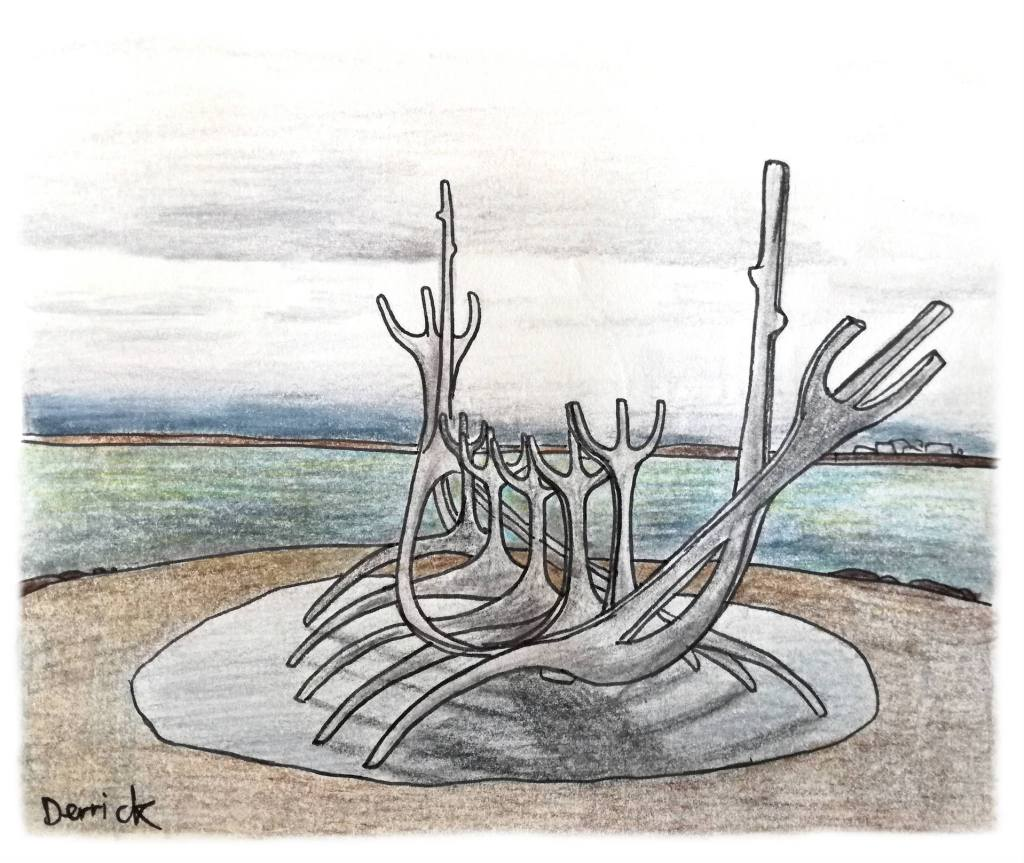 Sketch of the viking boat sculpture in Reykjavik