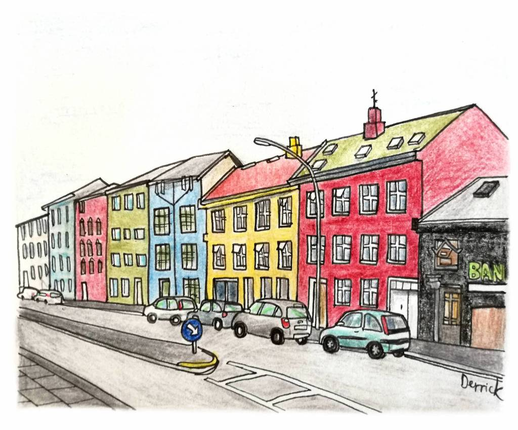 Sketch of multicolored houses in Reykjavik