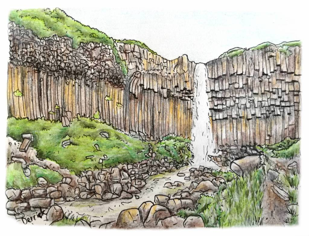 Sketch of Svartifoss waterfall in Iceland, with basalt columns