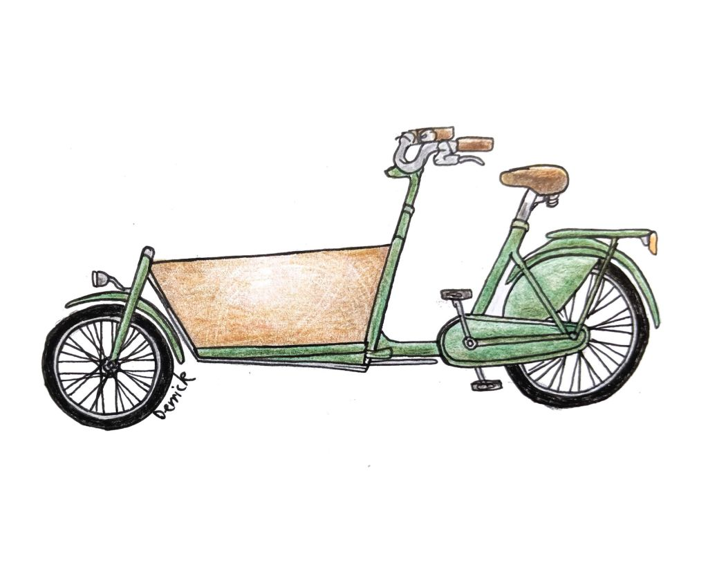 Sketch of a Dutch cargo bike with front bucket