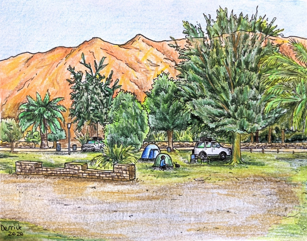 Landscape illustration of Ai-Ais camping ground in Namibia Namib desert