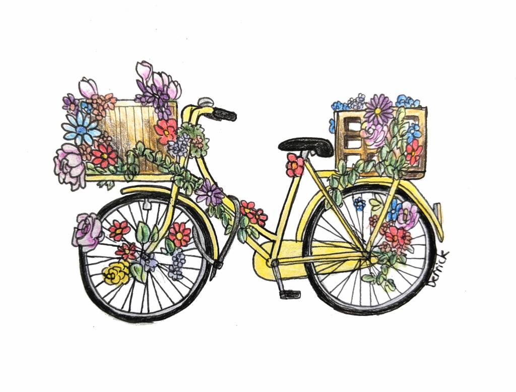 Sketch of a colorful Dutch bike with flowers and leaves