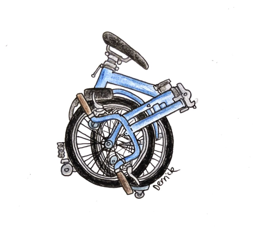 Sketch of a blue portable bike folded