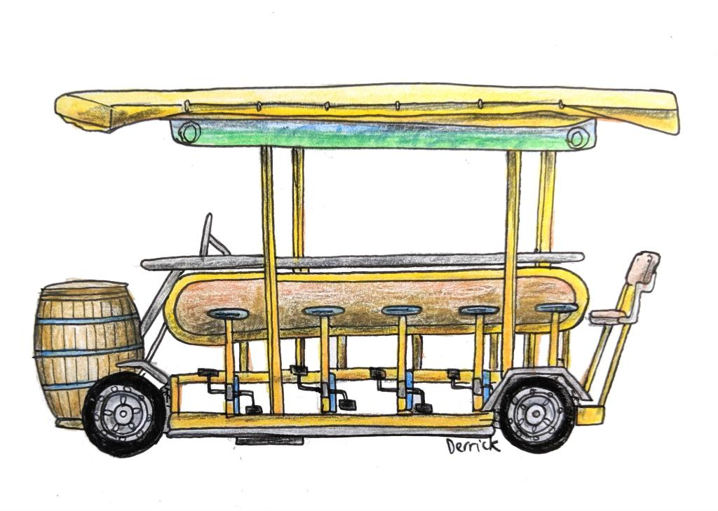 Sketch of a Dutch party bike with beer keg