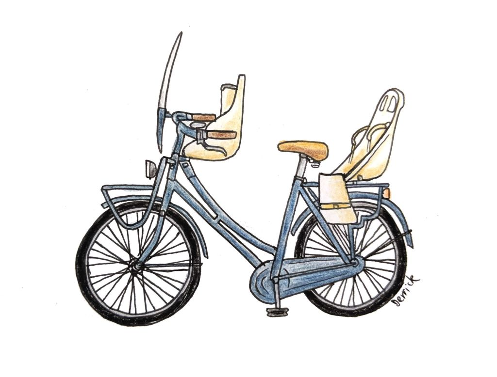 Drawing of a dutch bike with two child seats