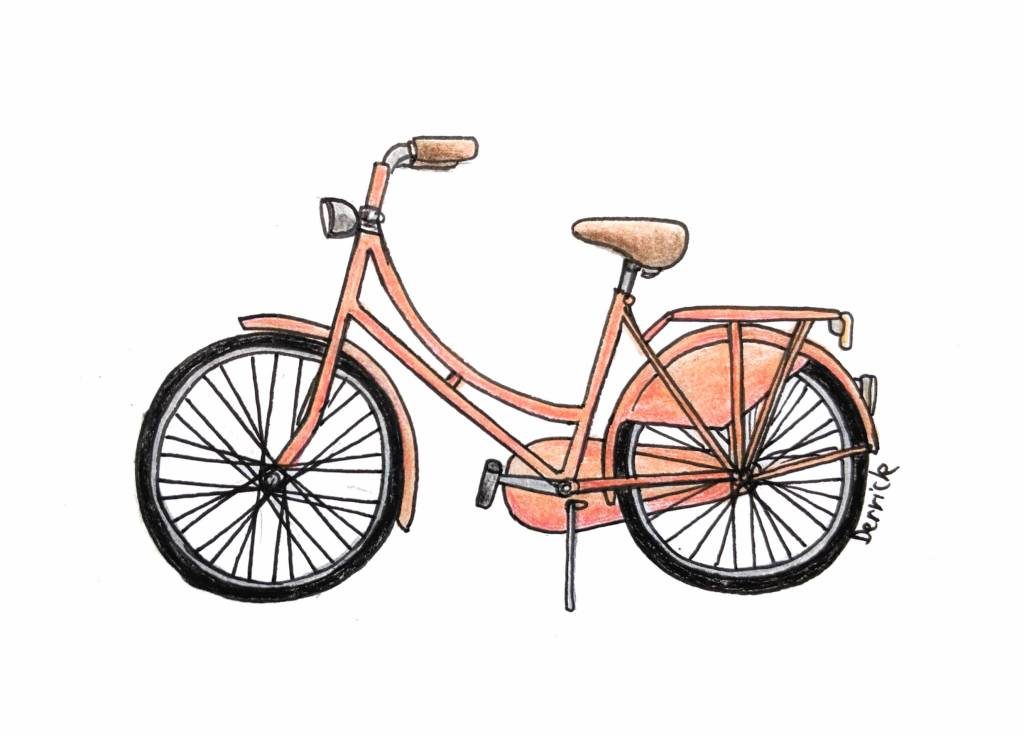 Sketch of a dutch bike with high seat