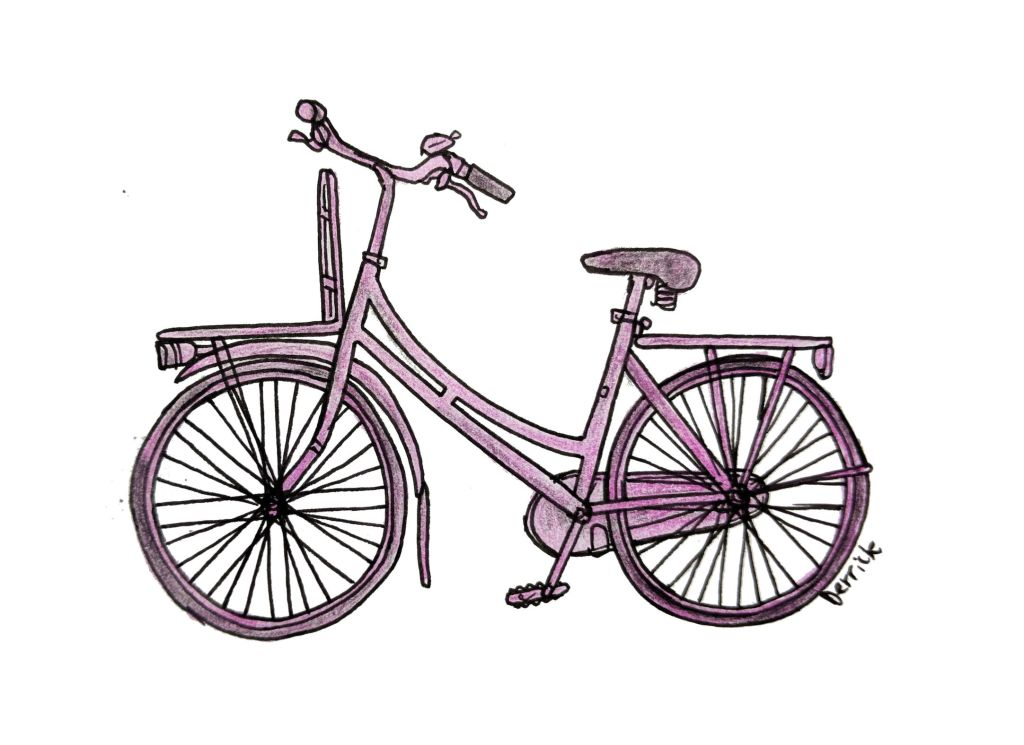 Sketch of a dutch bike with pink spray paint