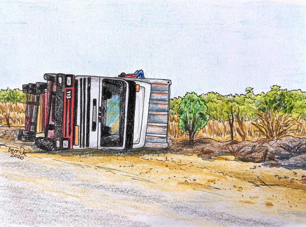 Zambia highway truck crash drawing semitrailer flip