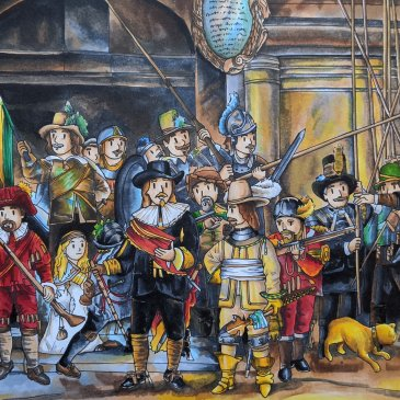Cute cartoon version of Rembrandt's The Night Watch