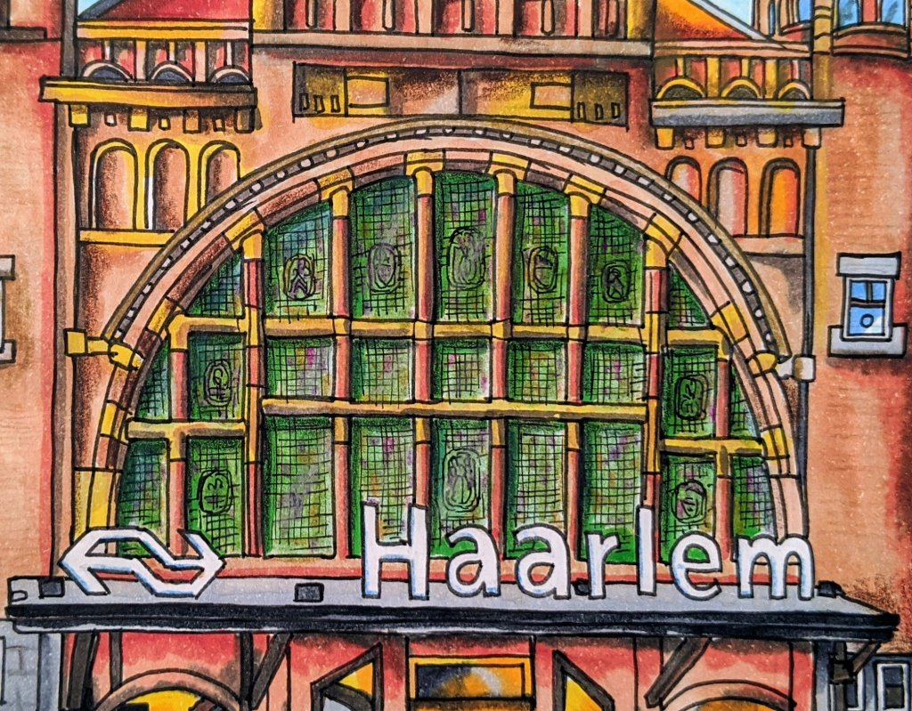 Urban sketching Haarlem station beautiful front window