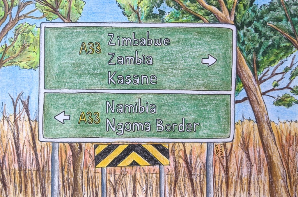 Drawing of three countries on one African road sign