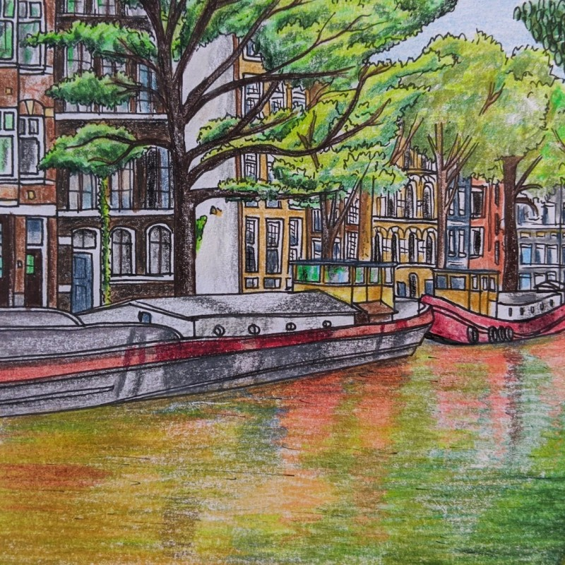 Drawing of houseboats on a green Amsterdam canal illustration