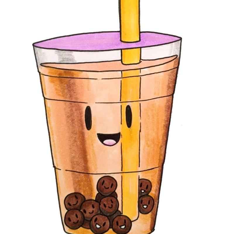 Cute bubble tea cartoon smiley face