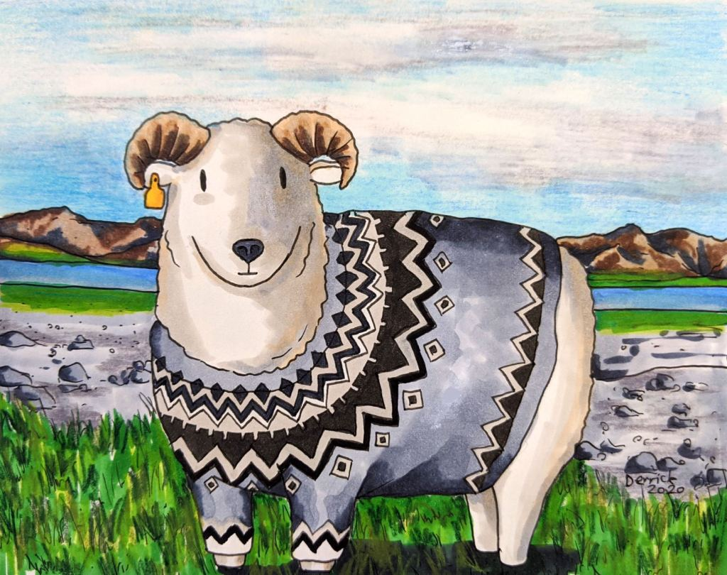 Cartoon of a Ram with a typical Icelandic jumper lopapeysa pattern