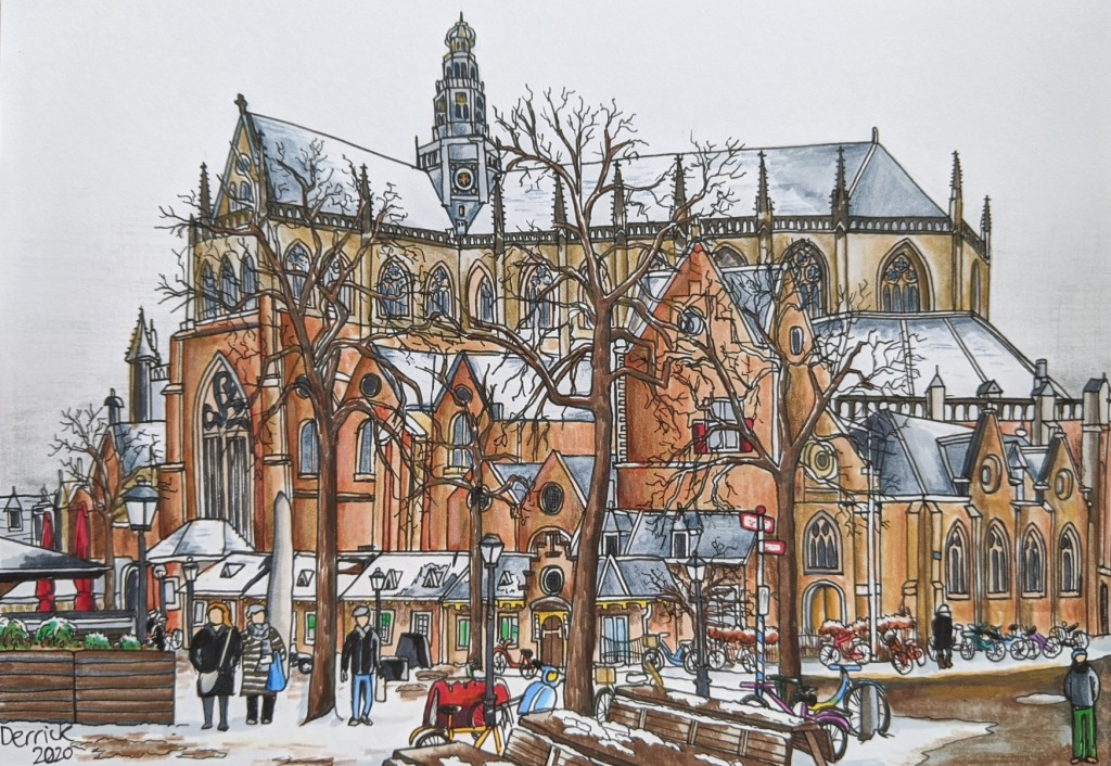 Copic marker urban sketching Haarlem gothic cathedral