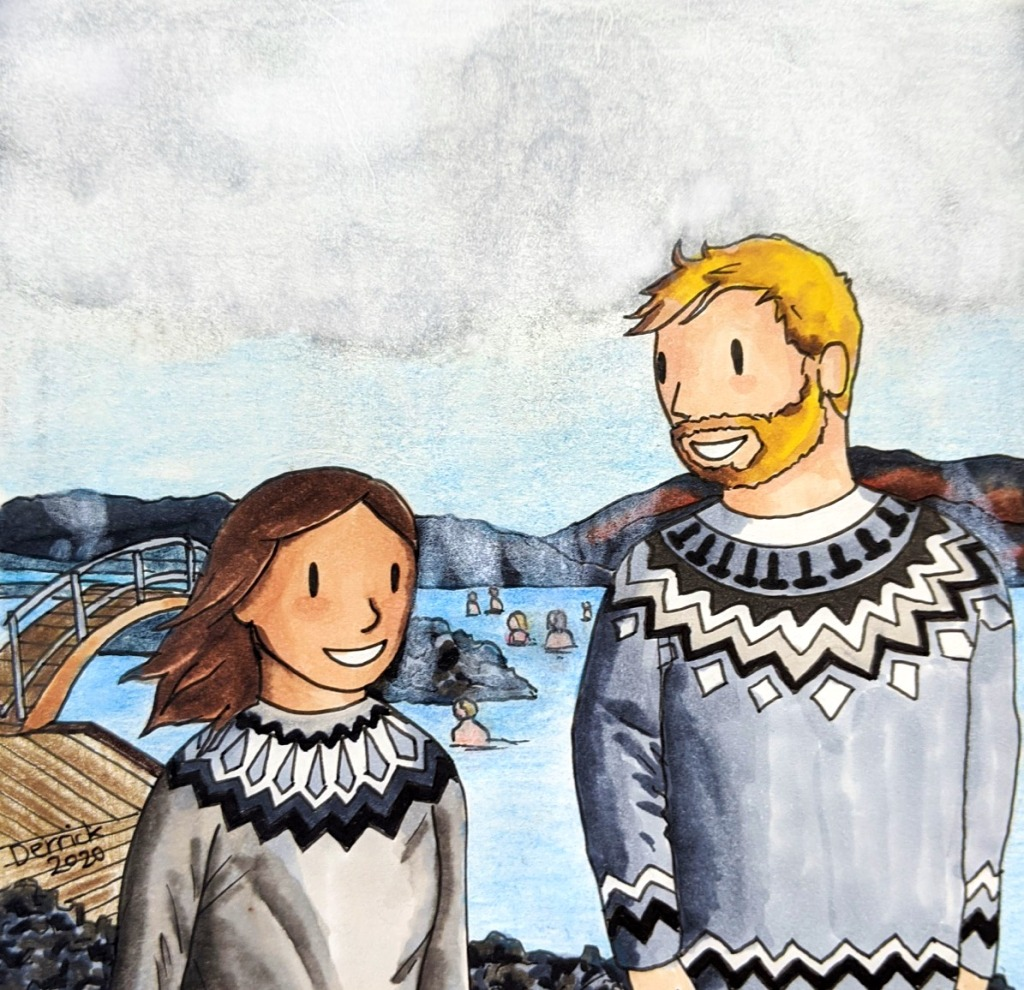 Illustration of Icelandic lopapeysa travel sketching blue lagoon Reykjavik