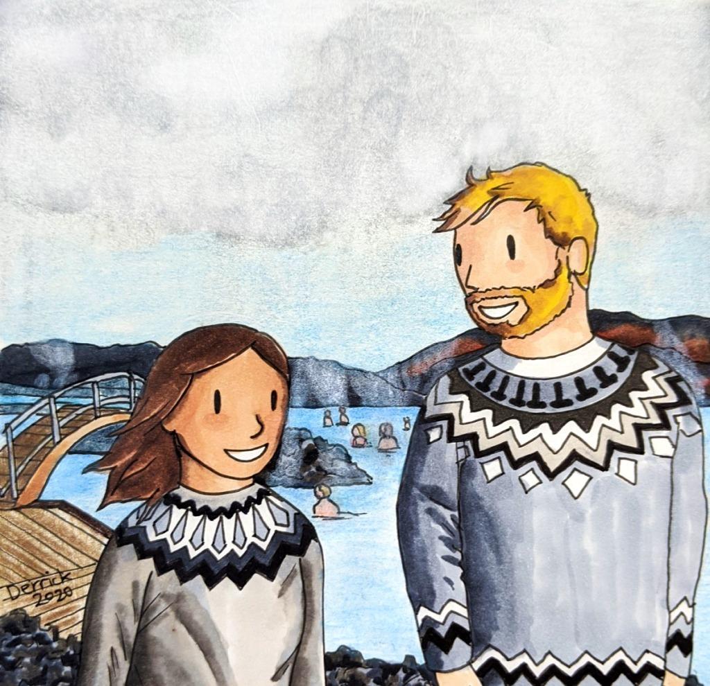Illustration of Icelandic lopapeysa travel sketching blue lagoon Reykjavik