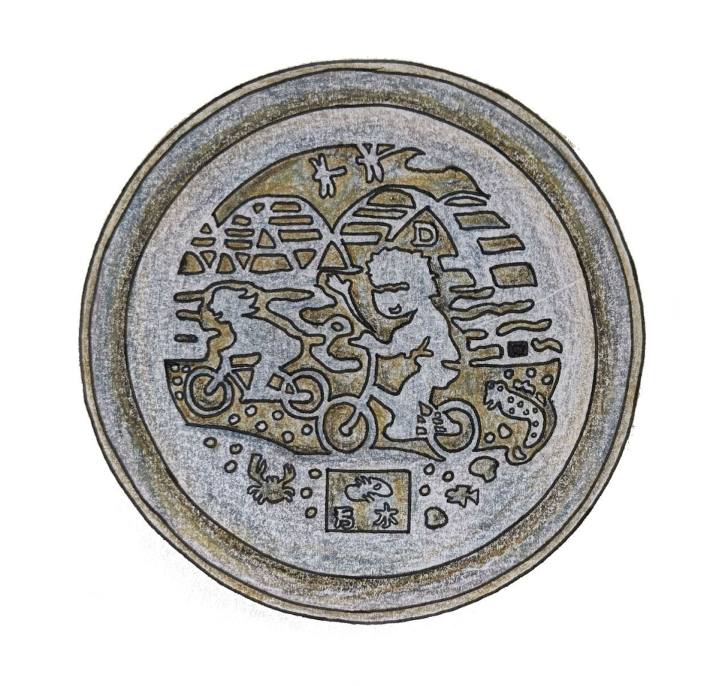 Taipei drain cover manhole cover artwork bicycle
