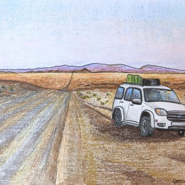 Sketch landscape of an offroad vehicle in the Namibia desert highway