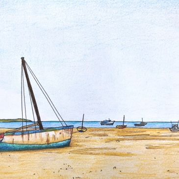 Pencil drawing of Stranded boats on the sand on Vilanculos beach