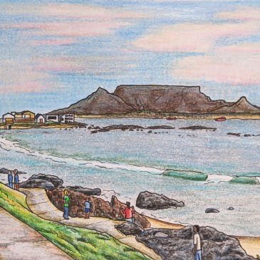 Drawing of Cape Town at sunset from Blue Peter bar